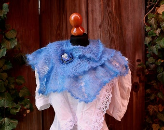 versatile handknitted scarf,blue mohair shawl,soft stole, wedding accessory,something blue,victorian style,edwardian,steampunk
