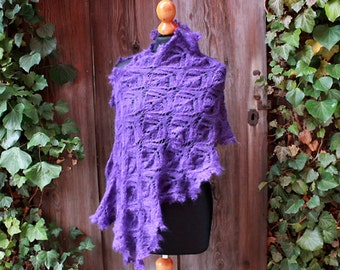 handknitted purple wedding stole,fine lace shawl,violet,bridal wrap,silk kidmohair, romantic victorian style,edwardian