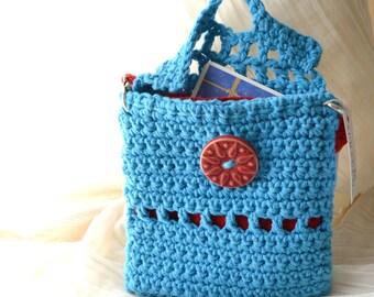 Turquoise, Red Keepsake Envelope Purse -Handmade, Hand Crocheted -Detachable Handle, Liner, Small Bag, Travel, Tarot, NOOK, Free US Shipping