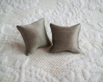 "Taupe Silk, pillow pair for the dollhouse, hand made, 1 1/8"" square"