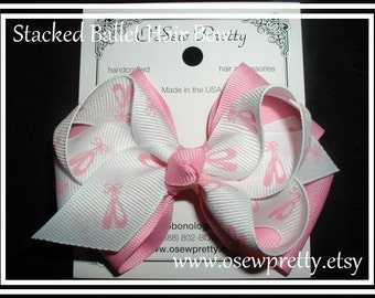 Ballet Hair Bow, Dance hair bows, Stacked ballerina hair bows, Pink Ballet hair bows, Ballerina Hair Bows, Ballet toe shoe, pink hair bows