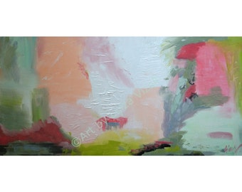 Abstract Large Painting SUMMER White Grey Pink Sage Peach Green Colors, 48x24 ready to hang canvas