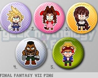 "Final Fantasy VII Pins or Magnets 1.5"" - Cloud / Aerith / Tira / Barret / Cid"