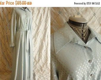 ON SALE 70s Dress // 70s Does 30s //  Vintage 1970s Light Blue and Silver Polka Dot Maxi Dress with Fringed Belt Size L