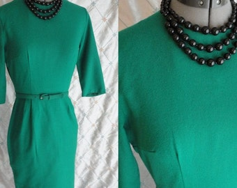 """50s 60s Dress // Vintage 1950's 1960's Emerald Green Wiggle Dress with belt by Style Row Size S 25"""" waist"""