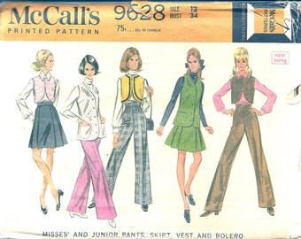 1960s Sewing Pattern - Hipster Fashion - 1960s Pant Pattern - High Waist - Wide Leg Pants - 60s Vest Pattern - McCalls 9628 - Uncut