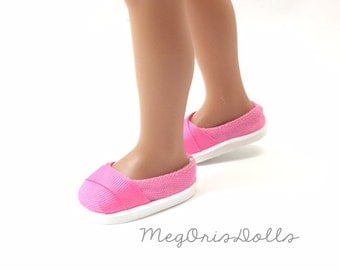 Bright Pink Shoes fit Hearts 4 Hearts Doll, Canvas, Slip On Flats