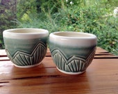 Carnival Tea Cups (Pair) - Juice - Whiskey - Wine - hand carved