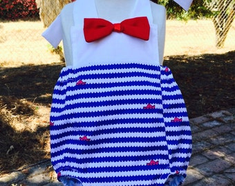 Romper with red bow tie - Blue waves and red sailboats