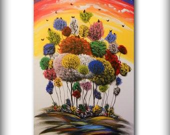 mushroom umbrella fantasy red tree painting children's art painting abstract wall art cloud painting fun landscape original 24 x 36