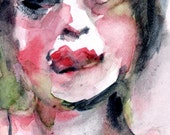 """Watercolor Painting Giclee Print  5 x 7 - """"After the Kiss 2"""""""