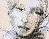 "Mixed Media Original Drawing - Woman's Face - ""Maple Leaf"" - 9 x 12 - Portrait Art"