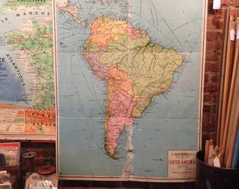 Antique Folding Cloth-Backed School Map of South America circa 1920