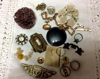 Antique Victorian Jewelry Repair Repurpose Lot Broken mixed matched. Some Sterling. Rose gold parts