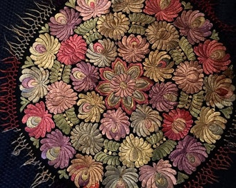Multi Color Matyo Silk Doily fringed Handmade Embroidered Hungarian Round