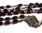 Vintage Red Crystal Glass Rosary Beads Medal Slides Open Mysteries Vintage Jewelry Supply