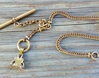 Vintage Watch Chain with Fob and T Bar Petite Edwardian Era Fob