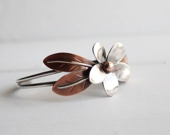 Tropical Plumeria cuff, Stement Bracelet, Size SMALL, Handmade by Hapa Girls, Metalsmith, gifts for her, boho chic