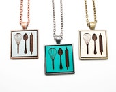 Baker's Pendant - Laser Engraved Wooden Cameo Necklace Featuring Cooking Utensils (Any Color - Custom Made) - Hostess Gift / Culinary School
