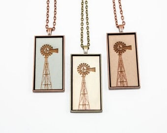Windmill Pendant - Engraved Wooden Cameo Necklace Featuring Farm Landmark (Custom Made / Personalized) - Gifts for Her