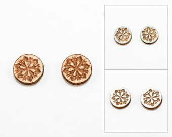50% off SALE: Geometric Snowflake Design - Post Earrings - Laser Cut Wooden Studs (Choose Your Color)