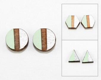 Geometric Two-Tone Wood Post Earrings - Metallic Silver & Mint Green - Laser Cut Hand-Painted Studs (Choose Your Shape)