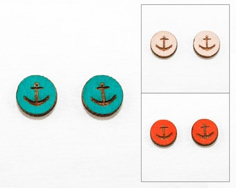 Anchor Design - Post Earrings - Laser Cut Wooden Studs (Choose Your Color)