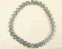 Vintage Mexican Sterling Los Castillo Mosaico Azteca Malachite and Azurite Stone Heart Shape Link Necklace