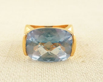 RESERVED for jeminjulian2206 ================ ----- Size 5 Vintage Gold Tone Sterling Giant Blue Gemstone Ring Made in Canada