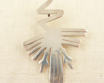 SALE --- Vintage Sterling Flat Modernist Abstract Cutout Design Convertible Brooch or Pendant