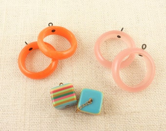 Group of Three Vintage Lucite and Orange Bakelite Earring Pairs for Crafting