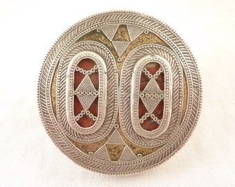 Size 8 Giant Round Antique India Silver Glass and Brass Detailed Statement Ring