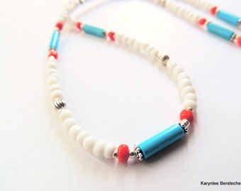 Turquoise and Seed Bead Necklace, Native Style, Handcrafted Jewelry, Turquoise and Red, Minimalist Jewelry, Tribal Jewelry, Hippie Jewelry