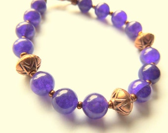 Blue Aventurine and Copper Bracelet, Handcrafted Jewelry, Purple and Copper, Gemstone Jewelry