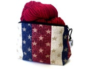 Zippered NOTIONS BAG with zipper pull -  Stars and Stripes