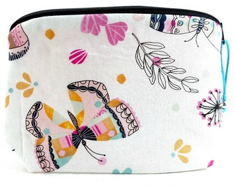 Zippered NOTIONS BAG with zipper pull - Floral Butterflies