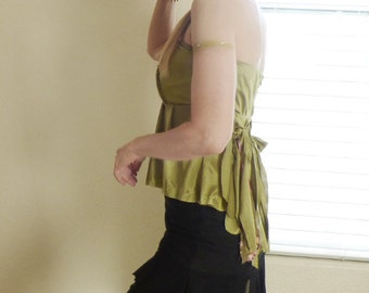 Moss Green Strapless Top Fairie Pixie Clothes