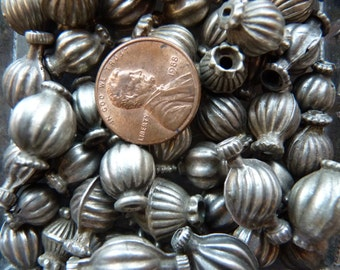 Antique sterling silver fluted beads