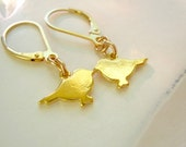 Mighty Love Gold Plate Tiny Birds on 14kt Gold Fill Leverback Earrings