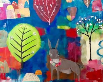 Woodland Donkey || mixed media acrylic whimsical cozy CANVAS print
