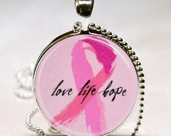 SaLe LOVE LIFE HOPE Breast Cancer Awareness Gift Altered Art Glass Pendant Charm Necklace