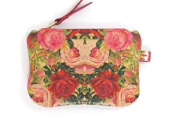 Leather Purse - Decoupage Roses