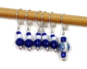 Locking Removable Stitch Markers Crochet Row Markers Knitting Supplies Knitting Markers Navy Blue White