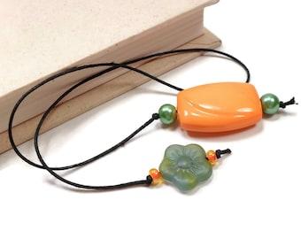 Book Thong Beaded Bookmark Green Flower Orange Book Cord Book String Gift under 5 Teacher Gift Gift for Student