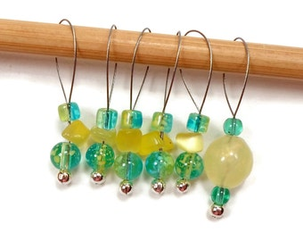 Beaded Stitch Markers Knitting Tools Snagless Beaded Aqua Yellow