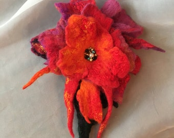 Felted brooch red orange   Felted pin.Felted wool brooch multicolor  flower, yellow blue pink purple  merino wool,bam beads