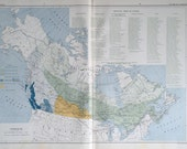 1915 Antique Map of Canada - Forests and Trees of Canada