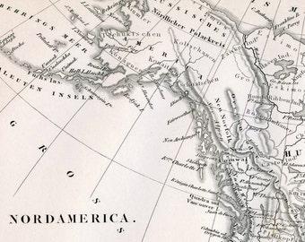 1860 German Vintage Map of North America - Vintage North America Map - Old North America Map - Black and White