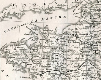 1860 German Vintage Map of France - Black and White