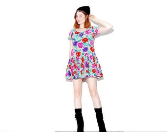 HURRY HALF OFF floral 90s dress xs small // skater dress mini dress trapeze dress floral dress 90s grunge 90s clothing cyber kawaii